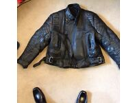 Leather jacket, leather trouser, rain prop jacket & trouser, 5 pairs of glover , and bike cover
