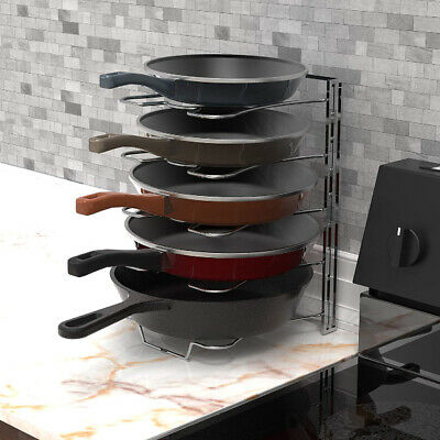 Dish Pan (Cookware Fry Pan Organizer Rack Pot Adjustable Storage Holder Kitchen Dish Stand )