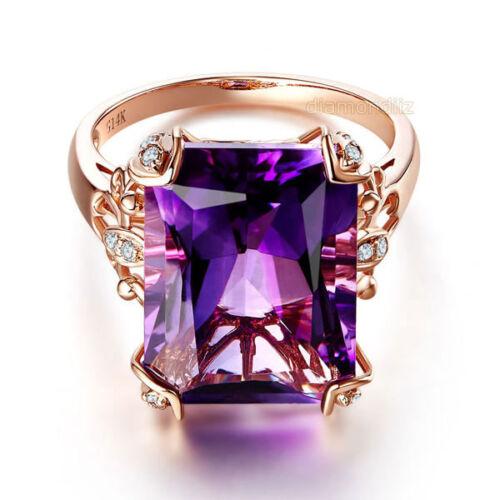reputable site 33810 d544d 14K Rose Gold Luxury Wedding Anniversary Ring 10.5 Ct Purple Amethyst  Diamond
