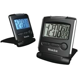 Westclox 72028 Black Compact Fold-up Travel Alarm LCD Display Digital Clock