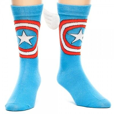 New Captain America Winged Socks Blue Licensed Marvel Collectable on Rummage