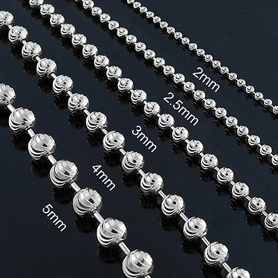 10k White Gold Mens Womens Moon Cut Bead Pendant Chain Necklace 2mm - 5mm 10k White Gold Bead