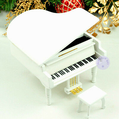 """""""Canon in D Major"""" Wooden Piano Music Box With Sankyo Musical Movement (White)"""