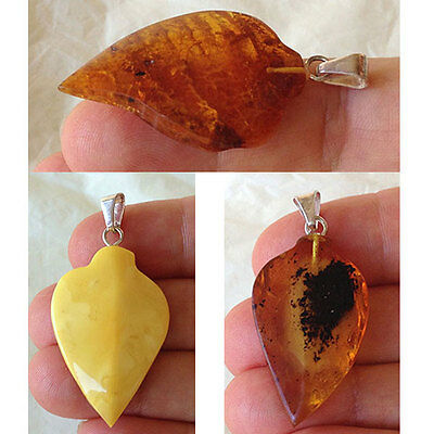 BALTIC HONEY or BUTTERSCOTCH AMBER & STERLING SILVER HANDMADE LEAF PENDANT