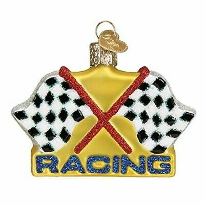 Old World Christmas 44153 Glass Blown Racing Flags Ornament