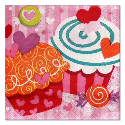 16 Cupcake Valentine's Hearts Beverage Napkins - Valentine's Day Napkins