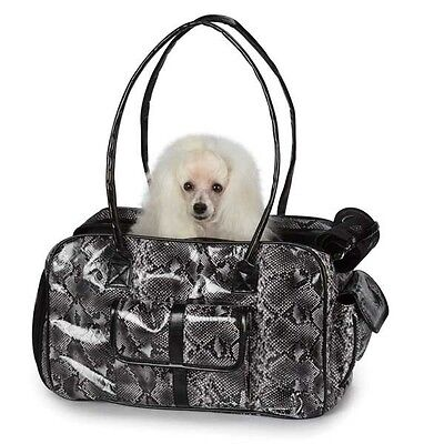 Zack & Zoey Metallic Python Pet Dog Carrier Travel Bag SM Silver FREE SHIPPING