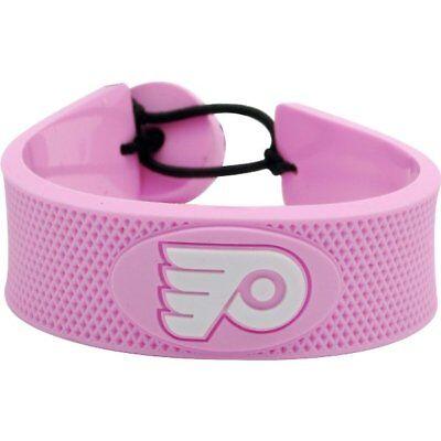 Nhl Pink Hockey Bracelet - Philadelphia Flyers Logo NHL Hockey Puck Rubber Pink Bracelet