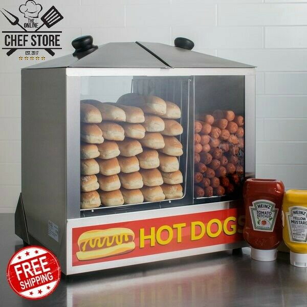 Avantco HDS-200 200 Dog 48 Bun Hot Dog Steamer Merchandiser 120V 1300W Electric