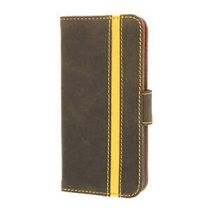 Brown Valenta Booklet Stripe Folio Case For iPhone 5,5S,SE Flip Cover