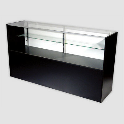 Retail Glass Display Case Half Vision Black 4 Showcase