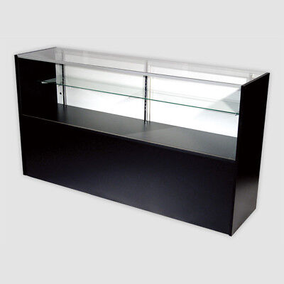 Retail Glass Display Case Half Vision Black 5 Showcase Wled Light