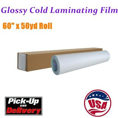 Us 60 X 50yd Roll Glossy Cold Laminating Film Monomeric 3.15 Mil Adhesive Glue