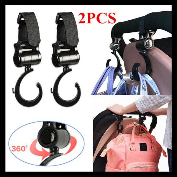2pcs/Lot Baby Hanger Bag Stroller Hooks Pram Rotate 360 Cart Hook Accessories