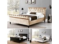 COD-Double/King Size Crush Velvet OTTOMAN Sleigh Bed IN GREY COLOR Frame W Opt Mattress