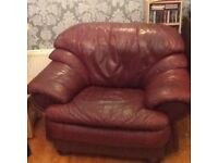 Free Burgundy Leather 3 seater suite and 2 armchairs sofa