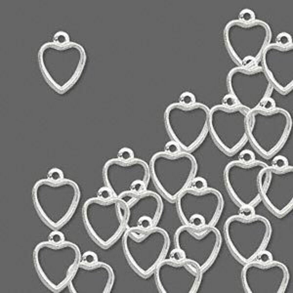 Silver Heart Charms Open Design 8mm Jewelry Scrapbook Craft Wedding Lot of 50