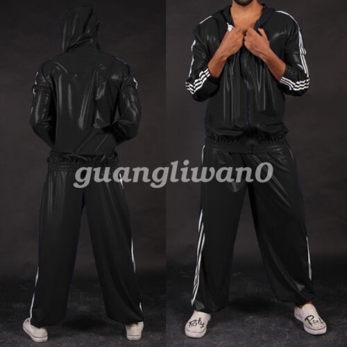Latex Rubber Gummi Kostüm Men Handsame Hooded Jacket & Pants Suit Size Xxs-xxl 17