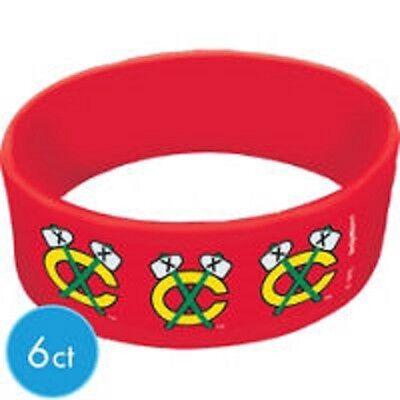 (2)Chicago Blackhawks NHL Licensed Wristbands 6CT X 2 = - Blackhawks Party Supplies