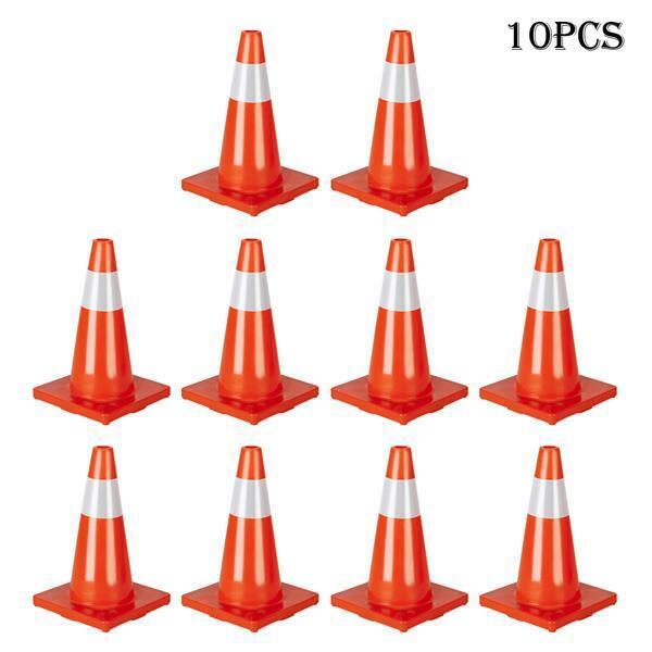 "10Pcs Traffic Cones 18"" Orange Fluorescent Reflective Road Safety Parking Cones"