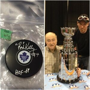 HOF inscribed autographed Johnny Bower & Red Kelly pucks London Ontario image 4