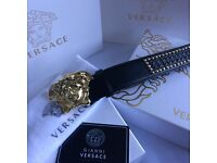 Studded design gold medusa rare sold out leather belt for men versace boxed complete cards