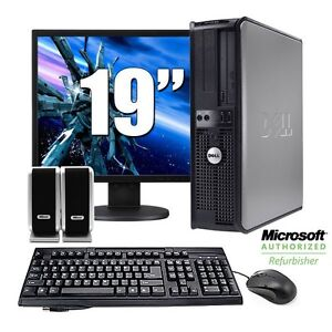 Dell OptiPlex Desktop Computer Windows 7 with Keyboard Mouse 19 inch LCD Monitor