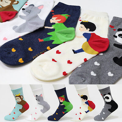 5 Pairs Lovely Cartoon Socks MADE IN KOREA Women Big Kid s Girl Character Socks
