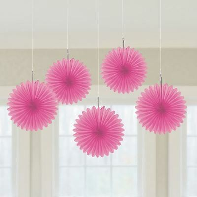 Mini Paper Fans (5pk Bright Pink Mini Paper Fans 15cm Birthday Wedding Event Party)