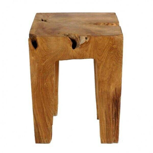 WOHNFREUDEN Hocker aus Teakholz ca. 40 cm lasiert Holz Sitz-Hocker Dekohocker