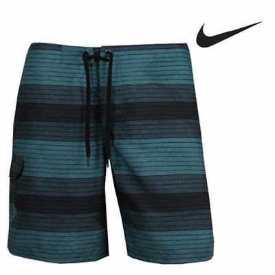 Nike swim board short 30 S jade green black stripe beach swim or skate bnwt