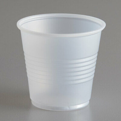 100 Disposable Plastic Cups. Small 3.5 oz Drink Size .100 Translucent Cups. New