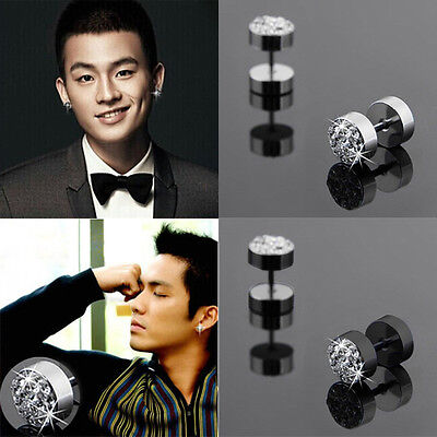 2Pcs Black Silver Men's Barbell Punk Stainless Steel Crystal Ear Studs - Crystal Silver Barbell