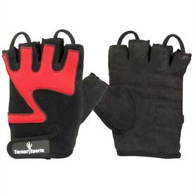 TurnerMAX Weight Lifting Gloves Body Building Fitness Biceps Workout Red & Black