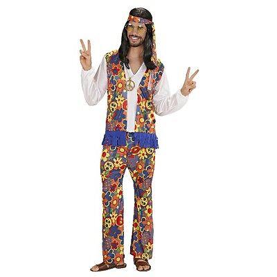 HIPPY KOSTÜM für Männer M 50 Hippie Verkleidung 70er Jahre Flower Power 70ties ()