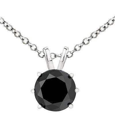 2.00 Carat Black Diamond Basket Set Pendant 14K WG Solitaire Necklace -
