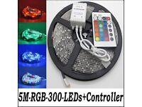 5M Full Kit 12V 300 LED 3528 RGB SMD Strip Non Waterproof 24Key Remote Controller