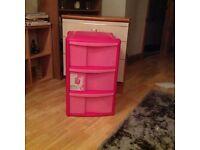 Pink 3 drawer plastic storage