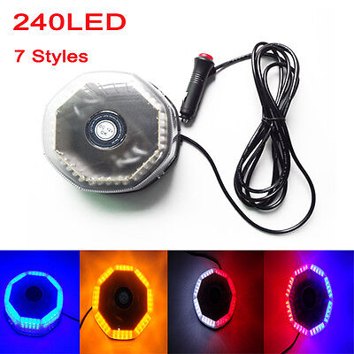 240 Led Flash Strobe Rotating Round Car Beacon Roof Top Emergency Warning Light