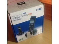 BT cordless phone in black 2 handsets new in Box