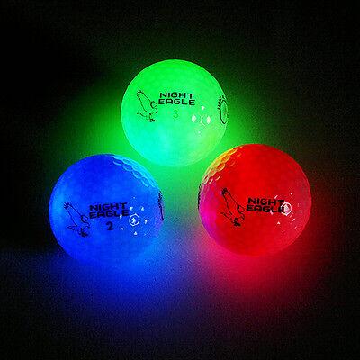 3 LED Golfbälle Night Eagle Light-Up - leuchten Rot Blau Grün Bunt Golf Geschenk ()