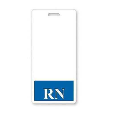 Rn Registered Nurse Vertical Hospital Id Badge Buddy With Blue Border