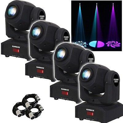 Equinox Fusion Spot MKII Black DMX DJ Disco Club Light x4 and FREE DMX Cables