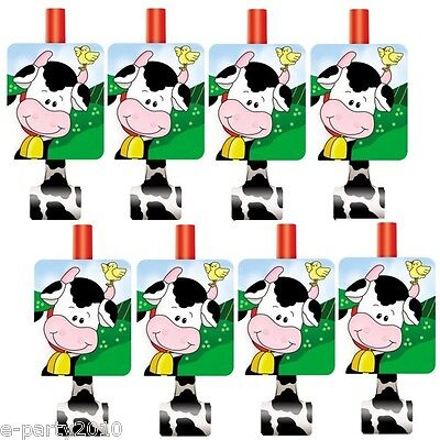 FARM FRIENDS BLOWOUTS (8) ~ 1st Birthday Party Supplies Favors Animals Cows Pigs - Farm Animals Party Supplies