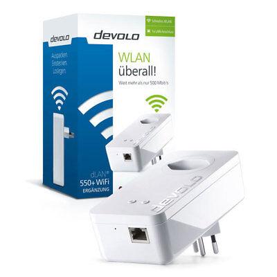devolo dLAN 550+ WiFi Ergänzungstecker Powerline WLAN Steckdose bis zu 500 Mbit/