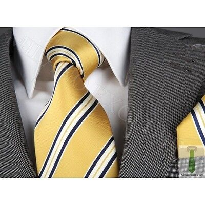 GOLD/NAVY BLUE STRIPE SILK TIE & HANKY - ITALIAN DESIGNER Milano Exclusive Blue Stripe Italian