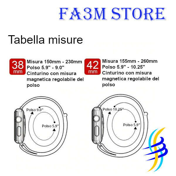 CINTURINO MILANESE PER APPLE WATCH MISURE 40/38MM E 44/42MM SERIE 1 2 3 4 5