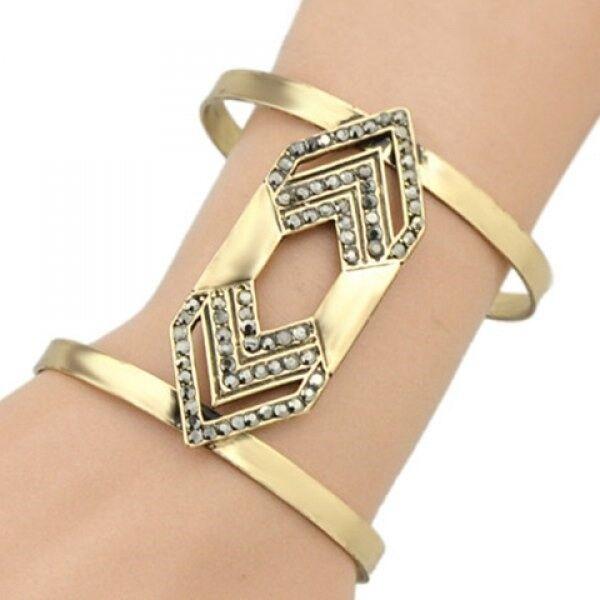Rivet Geometric Hollow Out Cuff Bracelet