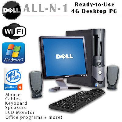 DELL GX280 DESKTOP PC  WIN 7 4GB INTEL P4 160GB-500GB 2.80 GHz DVDRW W/ MONITOR Gx280 Desktop