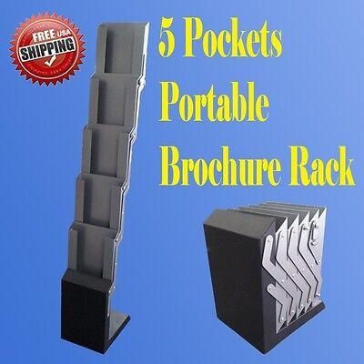 5 Pocket Literature Magazine Catalog Brochure Rack Holder Portable Pop Up Trade